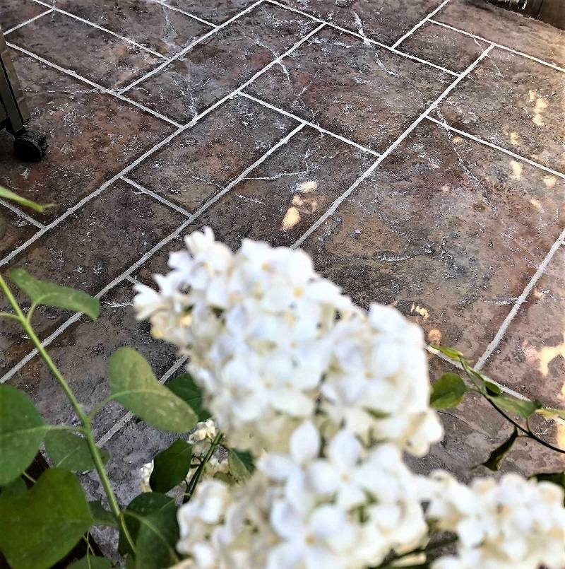 Stamped Concrete and Lily Flowers
