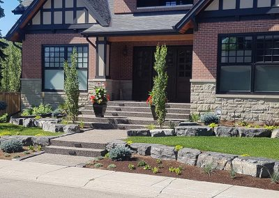 Front lawn with sidewalk
