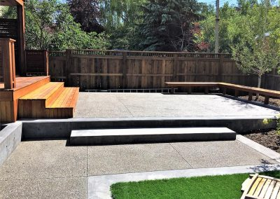 Back Yard with Wood and Concrete