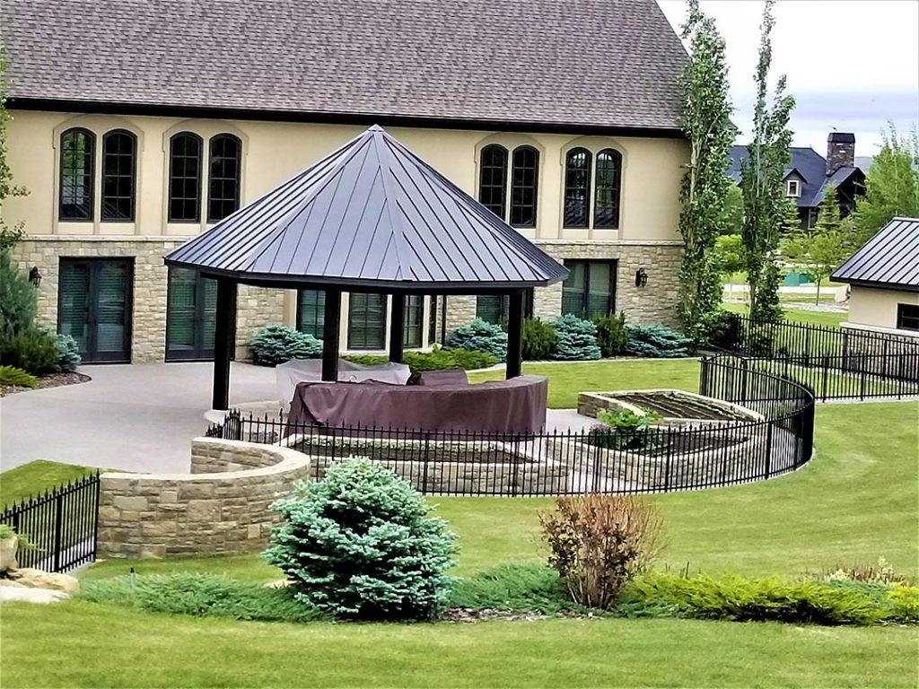 Concrete Patio beside Garden