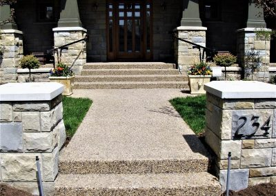 Two pillars in front yard