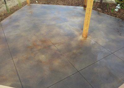 Concrete Patio and Wooden Pillar