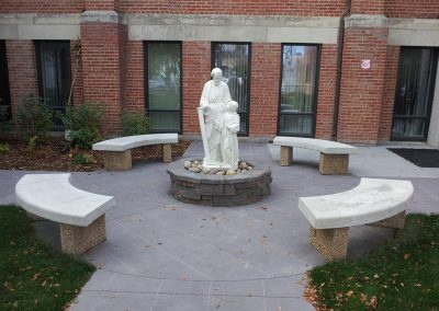 Statue in middle of Benches