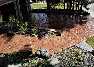 Red Coloured Stamped Concrete Stairs