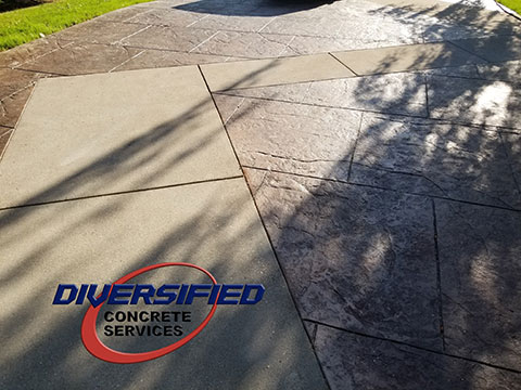 Combination of Textured Stamped Concrete