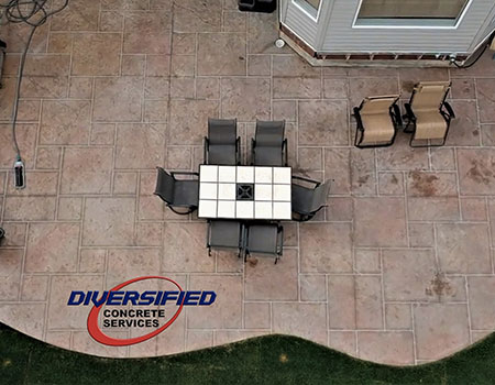 Top View Stamped Concrete Patio
